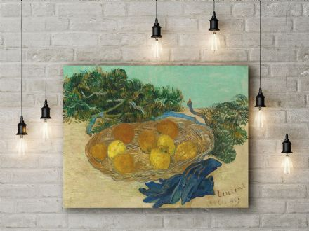 Vincent van Gogh: Still Life of Oranges and Lemons with Blue Gloves. Fine Art Canvas.
